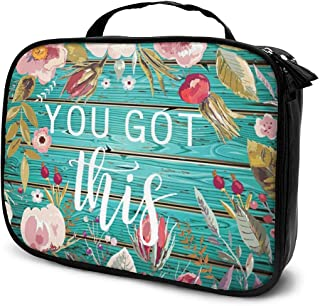 Cosmetic Bag You Got This Inspirational Vintage Colored Floral Makeup Bag Portable Cosmetic Case Water Resisted Cosmetic Makeup Bag Durable Organizer Makeup Boxes With Insulated Pockets For Travel