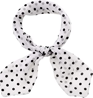Classic 50s Dot Scarf Chiffon Wave Point Scarf Polka Dot Square Neck Head Scarf, 35 x 35 Inches