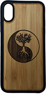 Tree of Life Case for iPhone XR by iMakeTheCase | Eco-Friendly Bamboo Wood Cover + TPU Wrapped Edges | Yin Yang Symbol Spirituality Zen Underworld Cosmos Knowledge.
