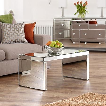 The Furniture Market Venetian Mirrored Small Coffee Table Amazon Co Uk Kitchen Home