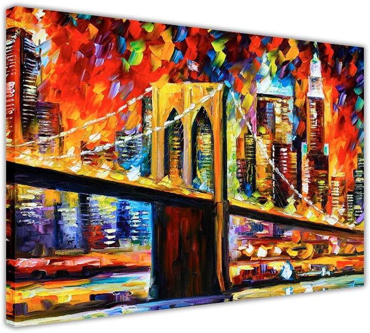 Brooklyn Bridge New York City By Leonid Afremov Oil Painting Re Print On Canvas Print Wall Pictures Modern Art Size A4 12 X 8 30cm X 20cm Amazon Co Uk Kitchen Home