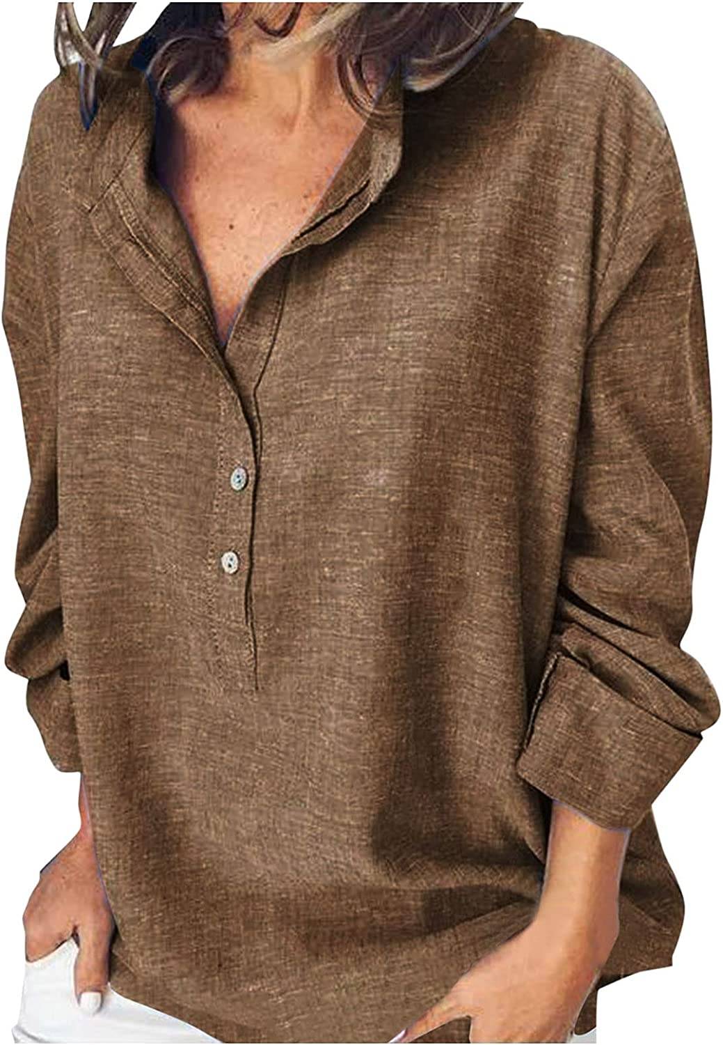Pandaie Solid Color Shirt Challenge the lowest Max 63% OFF price for Women Down Henley Lapel Button Lon