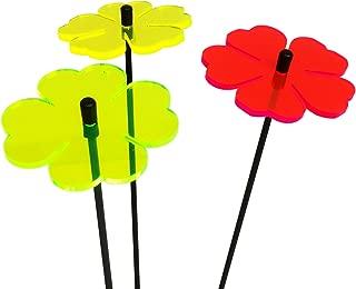 DSD Supplies ltd. SunCatcher Set of 3: Double Leaf Flower | Fluorescent Garden Ornament | Glowing Garden Decoration on Stick | Innovative Home Decor, Colour:red/Yellow/Green