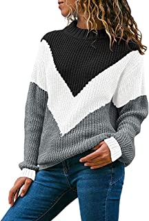 Sweaters for Womens, FORUU Ladies Women Round Neck Color Block Long Sleeve Knitted Sweater Tops Pullover Jumper