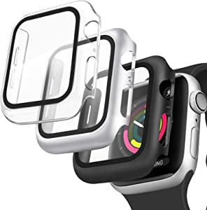 [3 Pack] Oumida Case Compatible with Apple Watch Case 42mm Series 3 2 1 for Women Men, iWatch Cases 42mm with Tempered Glass Screen Protector Hard Cover for Apple Watch (Clear, Silver, Black, 42mm)