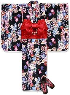 浴衣 こども 女の子 浴衣 セット 古典柄 子供浴衣 作り帯 下駄 3点セット 選べるサイズ(100 110)「黒 古典桜」TSW-803-set