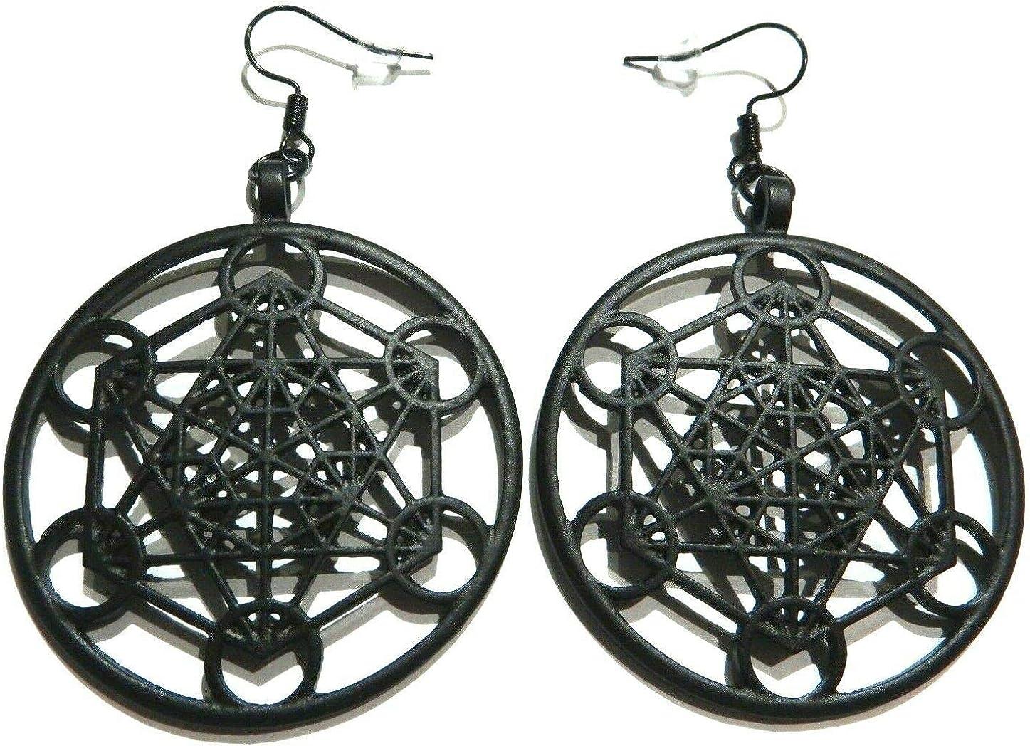 Metatron's Cube Earrings Matte Black large metal hoops Lucky 13 sacred flower fruit of life geometry