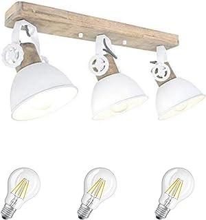 STEINHAUER Lámpara de techo con foco de 2133 W, 3 fl, incluye filamentos de 7 W, estilo Edison vintage, de madera y metal