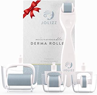 Jolizz Derma Roller Microneedle Skin Care Kit for Face & Body With FOUR Titanium Replaceable 0.25mm Microneedling Heads :1 Small 240 Needles, 2 Medium 600 Needles & 1 Large 1200 Needles & Storage Case