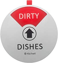 Kichwit Dishwasher Magnet Clean Dirty Sign Indicator, Works on All Dishwashers, Non-Scratch Strong Magnetic Backing, Dirty or Clean Sign Stays in Place, 4 Inch Diameter, Silver