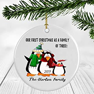 First Christmas As A Family of Three Ornament Cute Penguin - The Horton Family - Family of 3 Baby Shower New Mommy And Daddy Holiday Present 3 Inches Flat Circle Ceramic