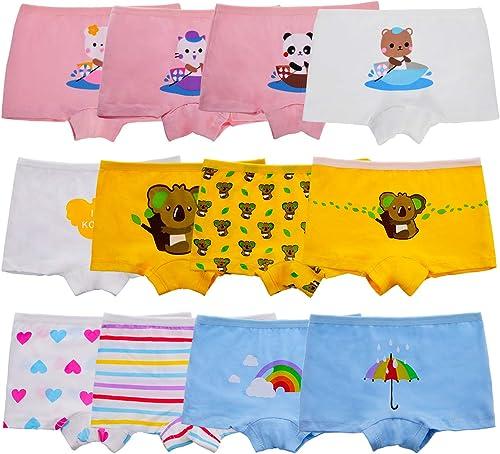 Anntry Enfants 12 Pièces Doux Culotte Confortable sous-vêtements Petites Filles Assorties Coton Culotte De Boyshort 2...