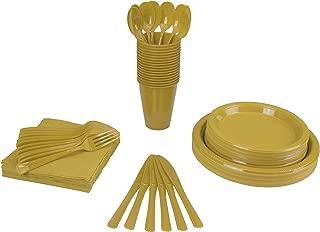 gold plastic tableware