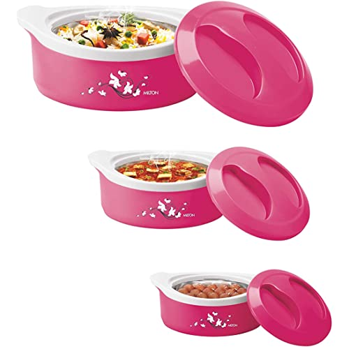 Milton Marvel Inner Steel Jr. Casserole Gift Set of 3(500/1000/1500), Pink
