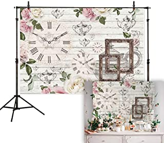 Allenjoy 7x5ft Afternoon Tea Rustic Floral Backdrop Flower Teapot Clock White Wooden Background Baby Shower Bridal Wedding Studio Photography Newborn Birthday Party Banner Photo Shoot Booth