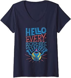 Womens Sesame Street Grover Hello Everybody V-Neck T-Shirt