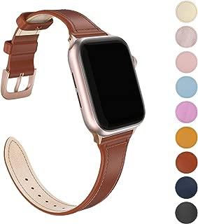 FRESHCLOUD Apple Watch バンド コンパチブル 本革 レザー ビジネス アップルウォッチ バンド 細い apple watch series5 4 3 2 1対応 38mm 40mm 腕時計ベルト おしゃれ 交換ベルト(レッドブラウン)