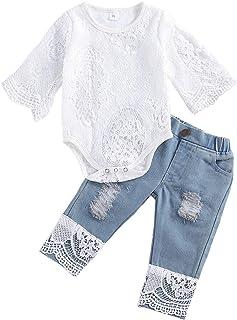 I3CKIZCE Conjunto de 2 piezas para bebé niña de manga larga con encaje blanco y pantalones vaqueros elásticos de manga lar...