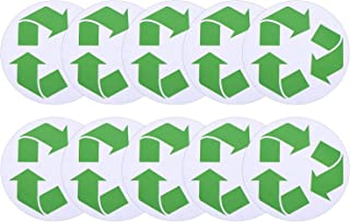 TecUnite 10 Pack Recycle Symbol Sticker Self Adhesive Recycling Symbol Labels Decals for Garbage Can Trash Bins Containers Trashcan, Green