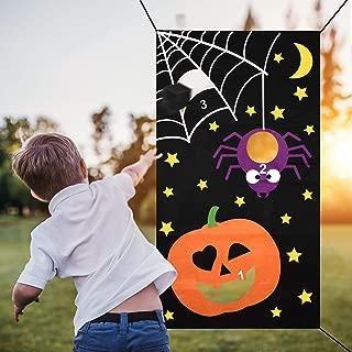 Halloween Bean Bag Toss Games , Pumpkin Spider Web Bean Bag Toss Game with 3 Bean Bags Party Games Halloween Games for Kids Party Halloween Decorations