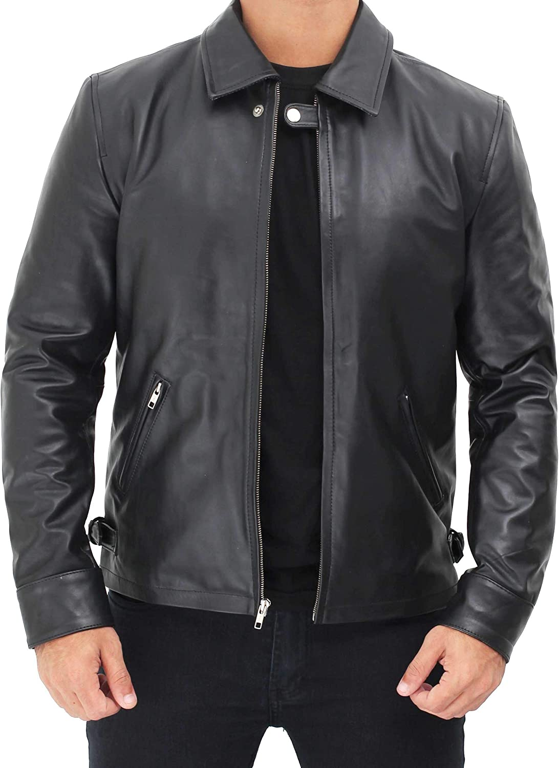 Vintage Leather Jacket Mens - Real Cowhide Leather Retro Jackets & Coat