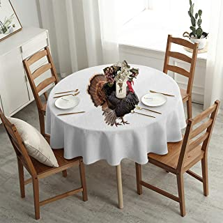 UETECH Microfiber Round Tablecloth Turkey Thanksgiving Gift Hat White Soccer Table Cloth Diameter 39