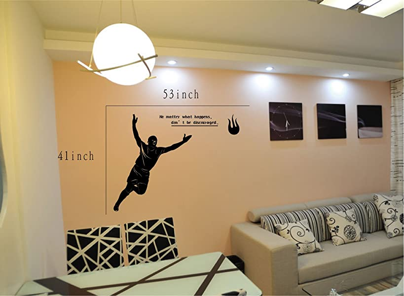 Large--easy Instant Decoration Wall Sticker Wall Mural Sport Boy Girl Adault Room Decal Sps305 Soccer Player