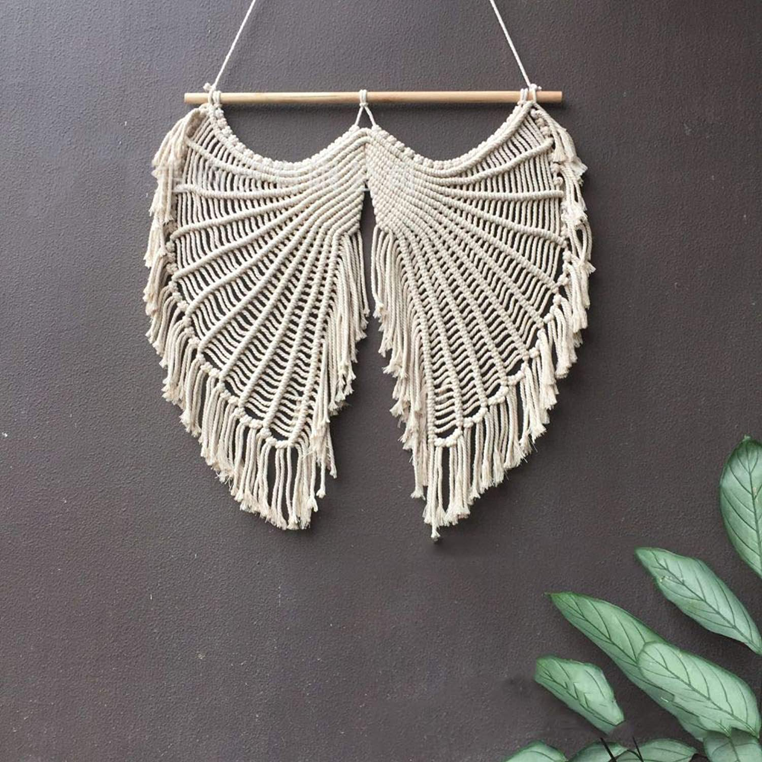 Handmade Macrame Wall Hanging Hand-Woven Tapestry Angel Wings Christmas Tapestry Wall Decoration Painting