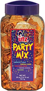 Utz Party Mix - 26 Ounce Barrel - Tasty Snack Mix Includes Corn Tortillas, Nacho Tortillas, Pretzels, BBQ Corn Chips and C...
