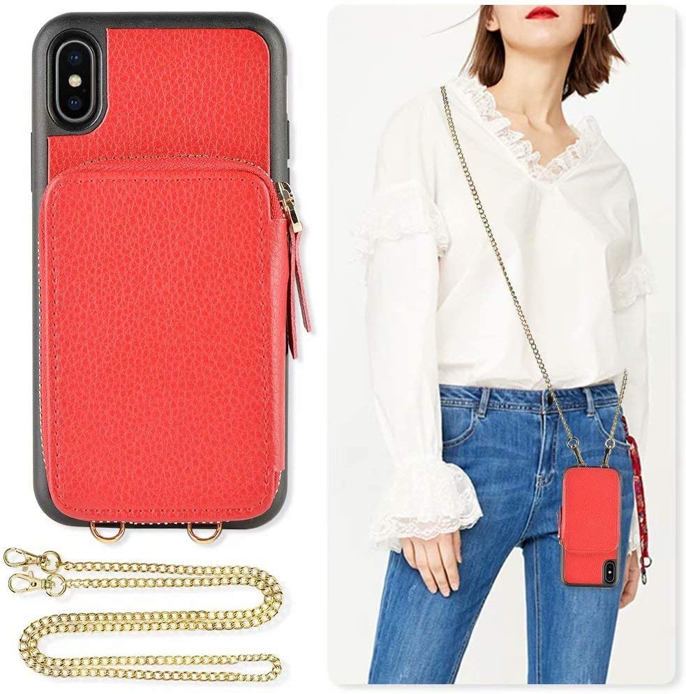 iPhone Xs and X Wallet case, ZVE iPhone X Zipper Leather Case with Credit Card Holder Slot Crossbody Chain Handbag Purse Shockproof Protective Case Cover for Apple iPhone Xs and X, 5.8 inch - Red
