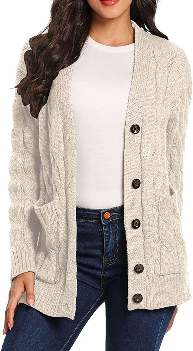 uideazone Women's Open Front Cardigans Long Sleeve Button Sweater Cable Knit Pocket Outwear