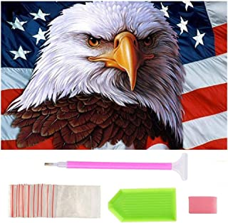 Full Drill Diamond Painting by Number Kits,BeAhity Eagles American Flag 5D Embroidery Cross Stitch Arts Craft for Independence Day Home Wall Decor