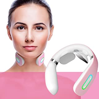 Neck Massager, Electric Smart Neck Massage with Heat, 5 Modes 16 Levels Portable Cordless Massage for Neck Pain Relief at Home Office Outdoor Travel Car Airplane, Gift for Women Men Mom Father (Pink)