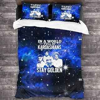 Hidreama inaWorldFullKardashiansStayGolden 3Pcs Bedding Printing Duvet Cover Set Soft(No Comforter),Twin for Teen Kid's Children Adult Gift Bed Set