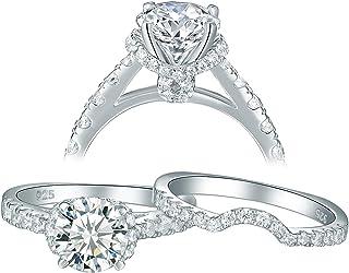 طقم خواتم زفاف من الفضة الخالصة للنساء من Newshe Jewellery Cz زفاف من قطعتين، مقاس الأميرة 5-10