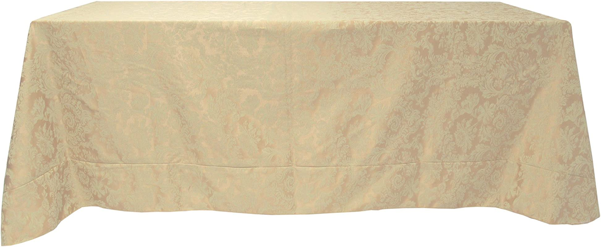 Ultimate Textile Miranda 90 X 132 Inch Rectangular Damask Tablecloth Champagne Ivory Cream
