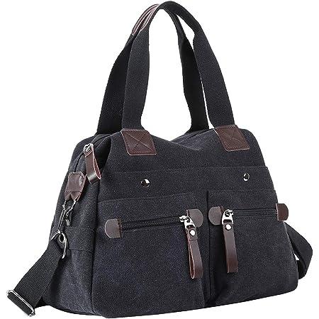Eshow Damen Handtasche Umhängetasche Schultertasche Canvas Segeltuch mit Handgriff Anti diebstahl Fächern Grau zu Einkaufen spazieren