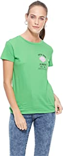 Bershka T-Shirts For Women, Green, Size XS