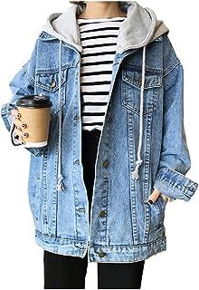 Kedera Women's Oversized Detachable Hoodie Denim Jackets Jean Coats XL