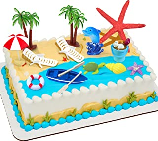 Beach Chair Umbrella Cake Decoration, 15Pieces Summer Ocean Cake Toppers, Tropical Hawaiian Aloha Luau Theme Party Decorat...