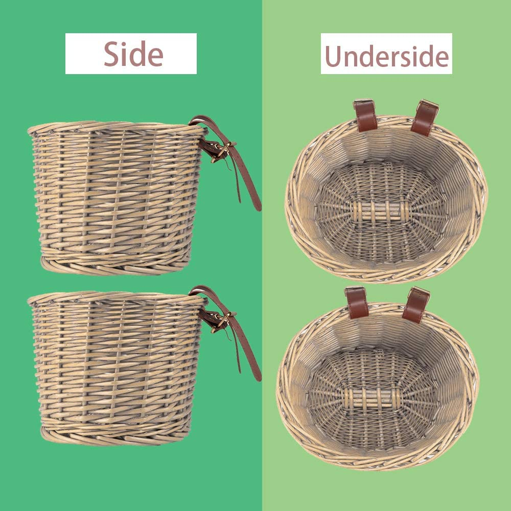 Handlebar Bike Basket with Leather Straps Natural Rattan Adult Storage Basket Detachable Bicycle Accessory for Shopping SS SUNSBELL Bike Basket Sugar Honey Wicker Baskets for Bike