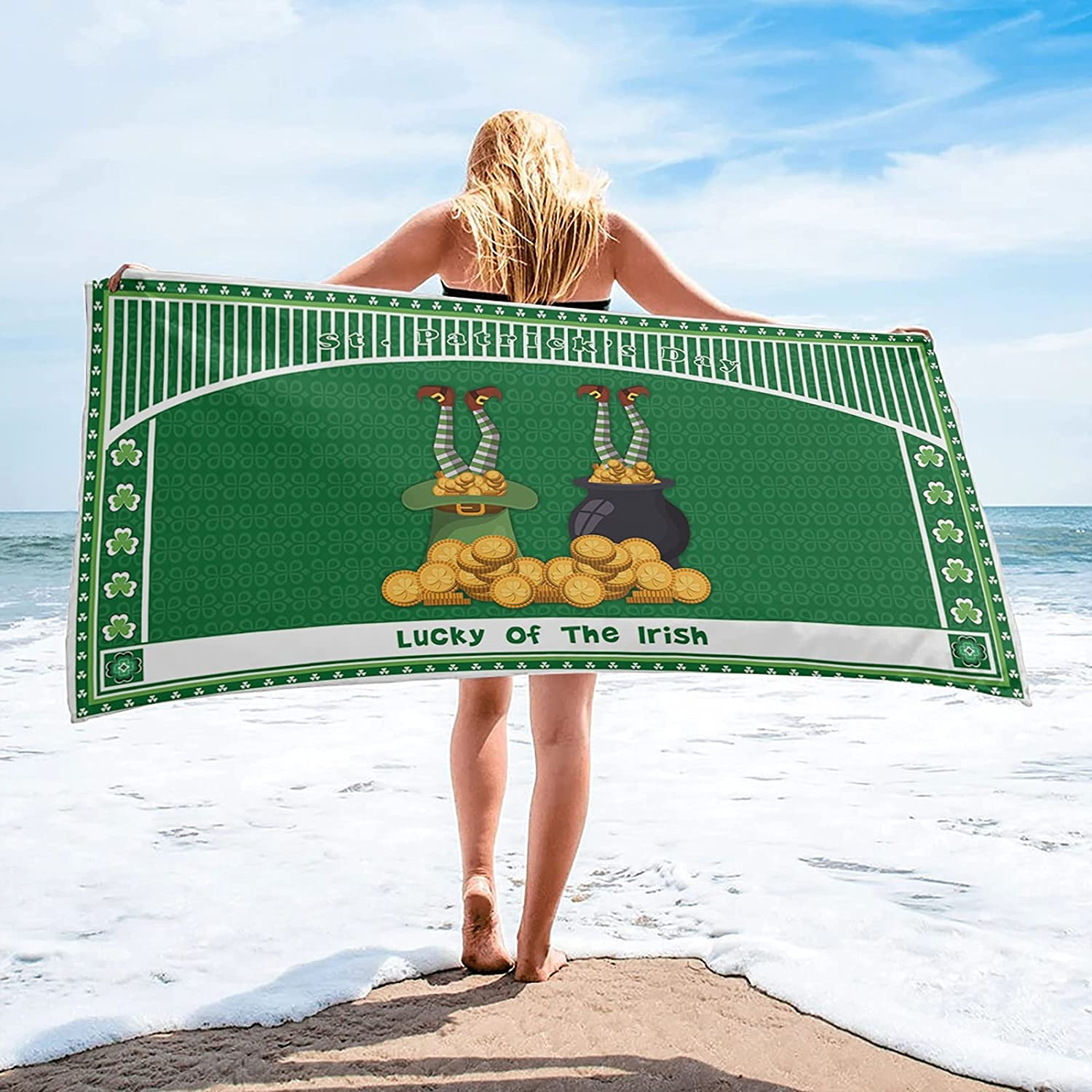 LINMING Saint Patrick's Day Clover Green Swimming Towel Limited price sale Super sale Qui Bath