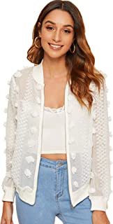 MAKEMECHIC Women's Sexy Applique Sheer Long Sleeve Zipper Crop Bomber Jacket White#1 X-Small