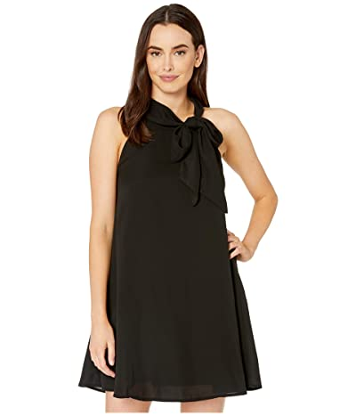 American Rose Willow Sleeveless Dress with Neck Tie (Black) Women