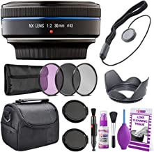 Samsung 30mm f/2.0 Pancake Lens (Black) NX Mount EX-S30NB + Warranty + Cleaning Kit + Case + Hood + Accessories Bundle