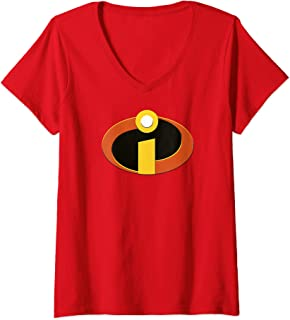 Womens Disney Pixar Incredibles Logo Halloween Costume V-Neck T-Shirt