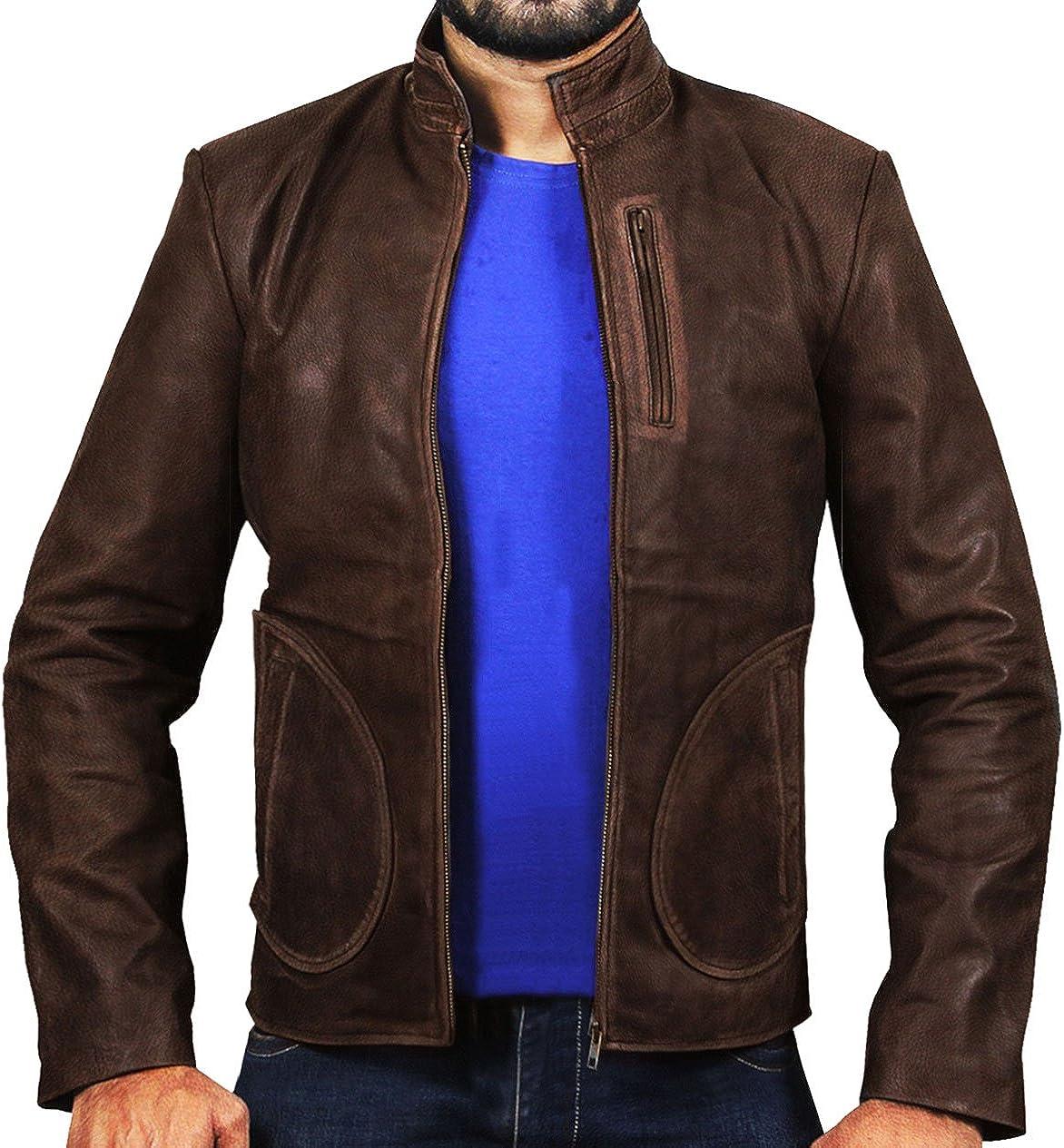 Mens Davis Rampage Dwayne Rock Distressed Leather Jacket