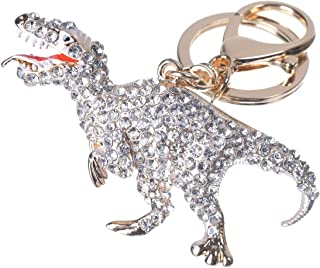 Girl's Dinosaur Keychain Gold Plated Bag Charm Cute Car Key Ring Crystal Purse Pendant #5168