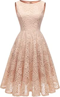50s Homecoming Dress, 1950 Cocktail Lace Vintage Dresses Crew Neck Prom Bridesmaid Dress