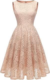 Kingfancy 50s Homecoming Dress, 1950 Cocktail Lace Vintage Dresses Crew Neck Prom Bridesmaid Dress